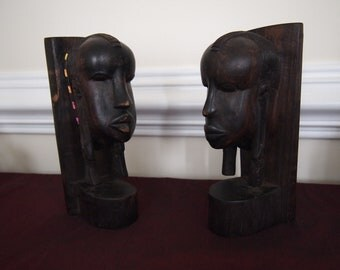 Hand Carved Ebony Sculpture - Tanzania Bookends
