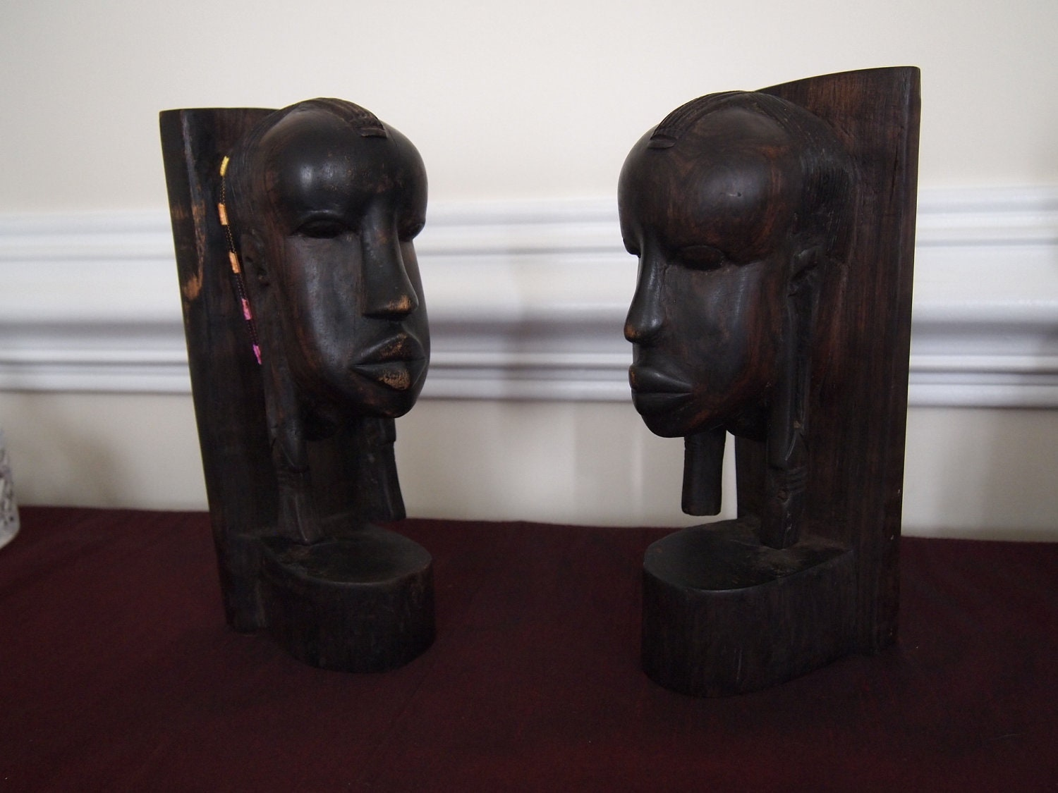 VINTAGE 14.5-INCH EBONY WOOD CARVED AFRICAN WOMAN STATUE