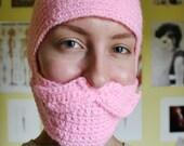 Crocheted PInk Mustache Hat