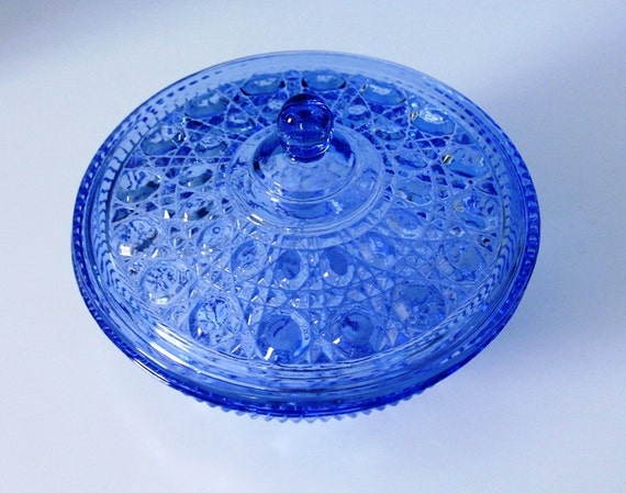 Blue Covered Candy Dish - Windsor Pattern - Federal Glass Company 1974-1978