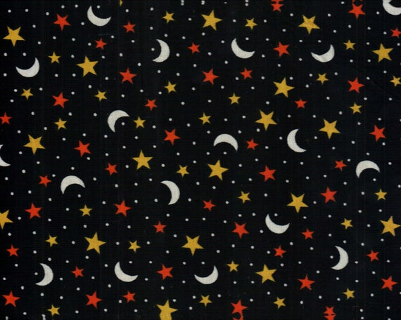 Stars and moons on black fabric material halloween for Fabric with moons and stars