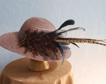 Rust  brown matallic feathered Derby hat