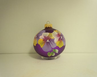 Pansy on purple glass christmas ornament