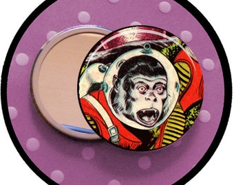 "SPACE MONKEY 2.25 inch pocket MIRROR, button or magnet 2 1/4"" size"