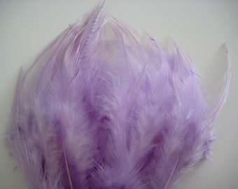 Lilac Hackle Hen Feather Fringe / 20 loose feathers