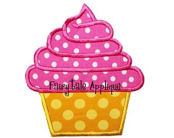 Digital Machine Embroidery Design -  Birthday Swirl Cupcake Applique