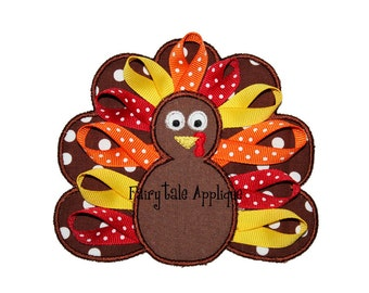 Digital Machine Embroidery Design - Ribbon Turkey Applique