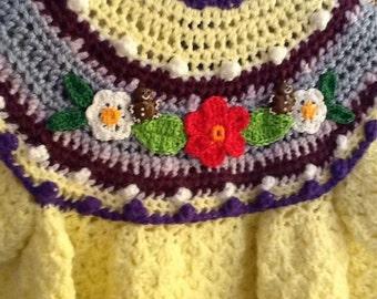 Little girls hand crochet dress size 2-3.   #002