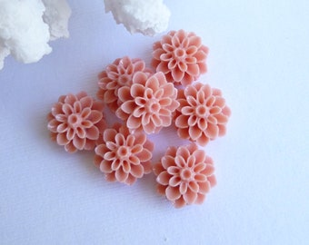 Pink Coral Resin Cabochon 15mm Flat Flower...  6 Pieces
