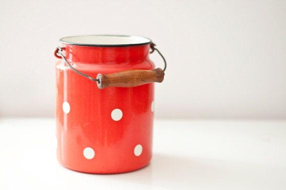 SALE 10% 0FF - Vintage Enamel Milk Can - Tangerine polka dot