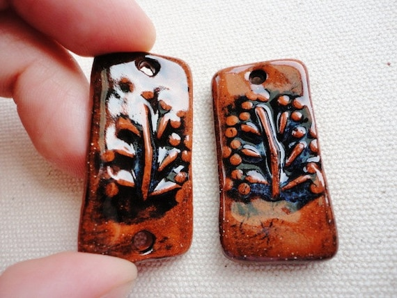 Set of 2 Ceramic Pendant and Connector, Rustic Style, Burnt Orange, Black, Rectangular, Fall, Botanical Theme, Jewelry Making Supply