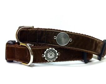 """1"""" Brown Velvet Dog Collar (Free Shipping)"""