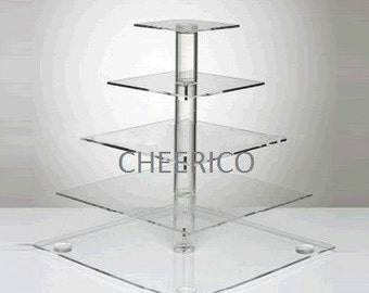 5 Tier Square Pole Wedding Acrylic Cupcake Stand Tree Tower Cup Cake Display Dessert Tower