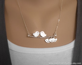 Mother Daughter Necklace. Mother Daughter Jewelry. Mother Daughter Gift. Love Birds with Baby Necklace. Sterling Silver Chain. A Family of 5