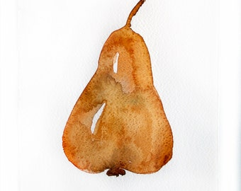 Watercolor painting of pear Art original Fruit watercolor