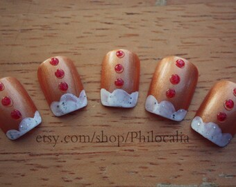 Cute Holiday Gingerbread Nails