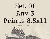 Set of three prints- 8,5 x 11 prints - choose any 3 in the shop