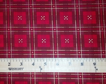 Christmas Quilting Fabric, Red & Gold Plaid by Studioefabrics, Holiday Charm Collection, BTY