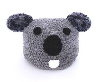 Koala Beanie Crochet Animal Hat With Ears Winter Accessory Gray Skullcap