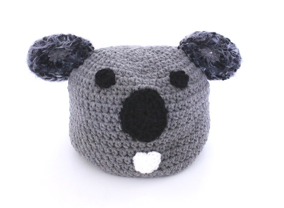 koala beanie h keln tier m tze mit ohren winter zubeh r grau. Black Bedroom Furniture Sets. Home Design Ideas