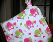 Medium pink owls wet bag swim bag