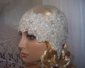 DO not buy  this listing....RESERVED FOR Zoya...Flapper girl....Modern bridal  flapper-bandana headpiece.Ready to ship.