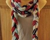Mixed Yarn, Ribbon and Lace Scarf