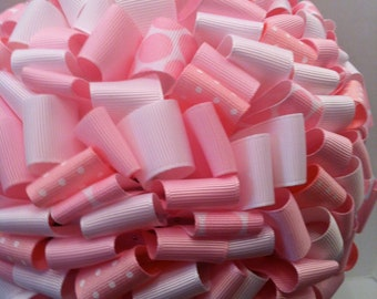Ribbon Topiary in light pink and white
