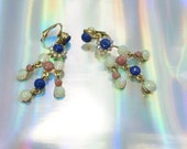 Hand painted rhinestone earrings in mint, rose and blue with gold backing, Digital flower.