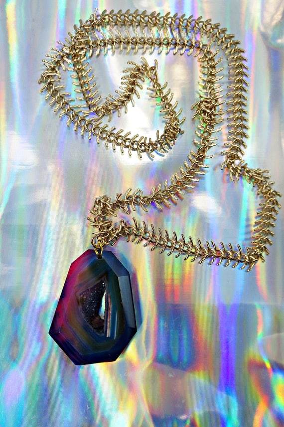 Agate necklace, Digital Gem with neon pink, blue swirl agate and gold fish bone chain.