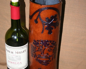 Wine Quiver / Wine Tote Tooled Leather in Purple and Brown - GRENACHE