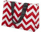 Red  Monogrammed Chevron Large Tote, Laminated Water-Resistant Bag With Comfortable Wide Nylon Over The Shoulder Black Straps