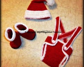 Crochet Baby Hat Santa with Diaper Cover Christmas