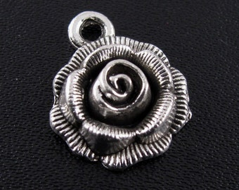 """12pcs 3D Silver Rose Charms, Flower Charms, Lead FREE/Nickel FREE Tibetan Silver """"Pewter"""" for Diy Jewelry Making"""