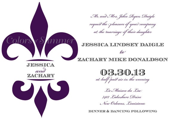 Amazing Fleur De Lis Wedding Invitation, Purple And Black Wedding Invitation, New  Orleans Wedding Invitation, Louisiana Wedding   Digital File