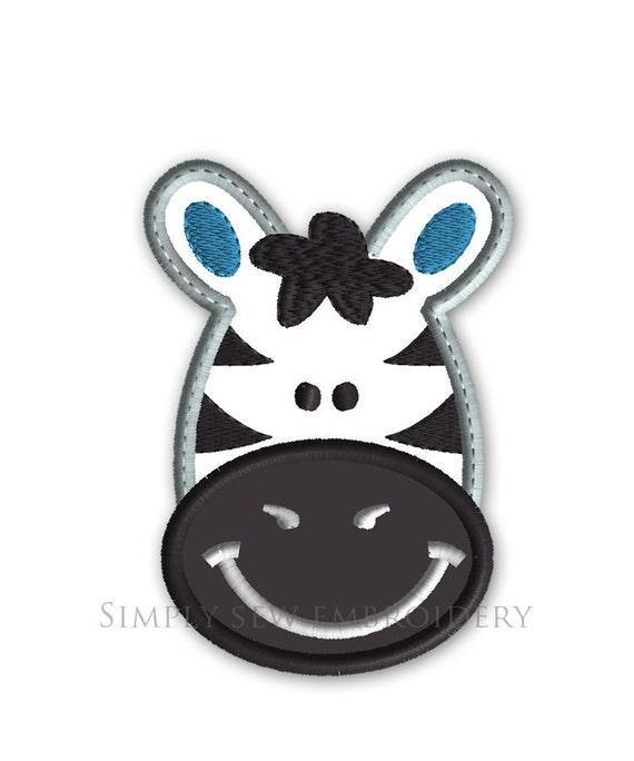 Zebra applique machine embroidery design no