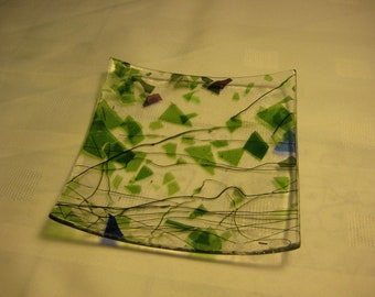 Small fused glass serving plate
