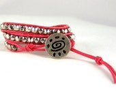Leather Wrap Bracelet, Tribal Design, Pink Jewelry, Nugget Bracelet, Available in All Colors