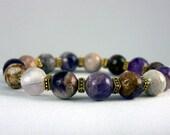 Flowery Amethyst  Bracelet, Stretch Bracelet, Yoga Inspired, Unisex, Free Shipping