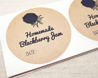 20 Mason Jar Labels for Homemade Blackberry Jam, Jelly Labels Fruit Labels Canning Labels