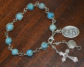 Turquoise Unbreakable Bracelet/Chaplet Rosary Southwestern- Choice of St Medal