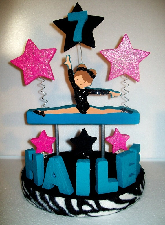 Gymnastic Cake Decorations Uk : GYMNASTICS Zebra / Turquoise 3D Custom Cake Topper by ...