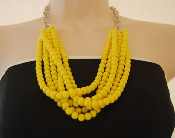 Yellow Statement Necklace Yellow Beaded Necklace Chunky Bold Bridesmaids Necklace Wedding Jewelry