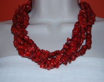 Statement Red Coral Necklace and Earrings Set - Red Statement Necklace Chunky Beaded Necklace Bold