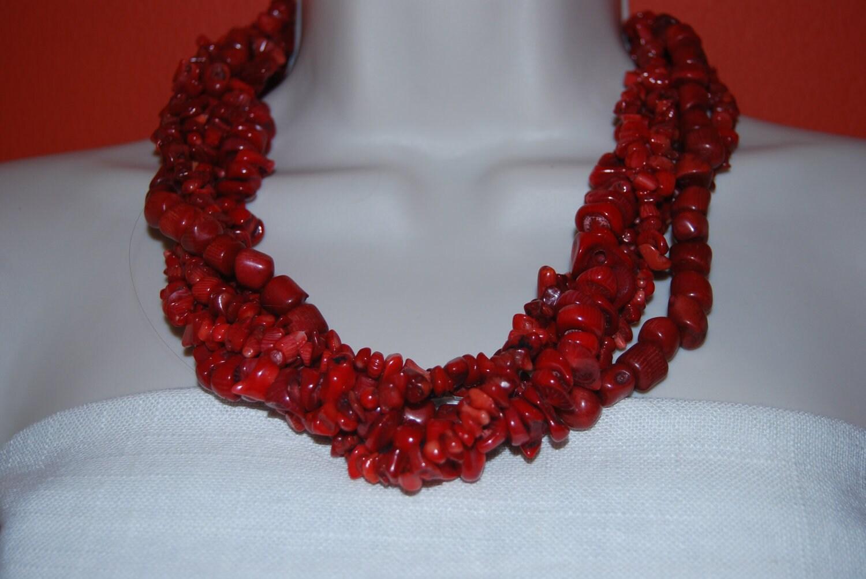 Reserved For Susan Statement Red Coral Necklace Bracelet