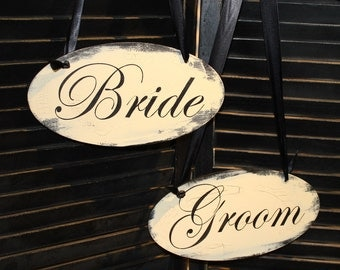 BRIDE - GROOM  Chair Signs Oval/Photo Prop/Great Shower Gift/Black/Ivory