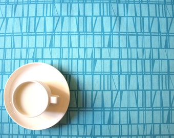 Tablecloth turquoise blue lines checkered Scandinavian Modern decor , table runner , napkins , pillow , curtain available, great GIFT
