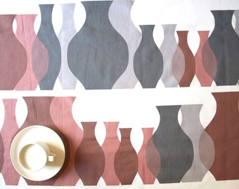 Tablecloth white with grey brown pink vases pitchers , also napkins , table runner , pillow covers , curtains available, great GIFT