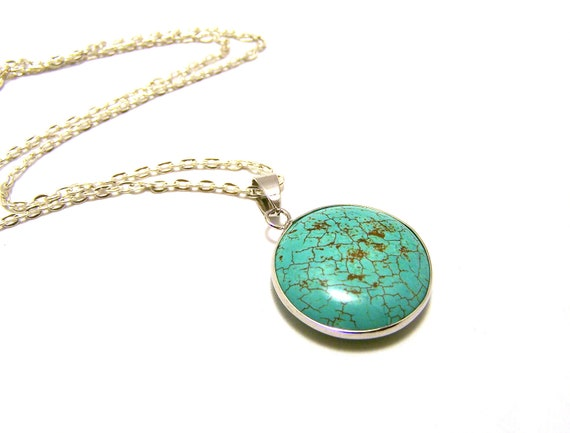 Stunning Howlite Turquoise Button Pendant Sterling Silver 925 Necklace / Gift for Her