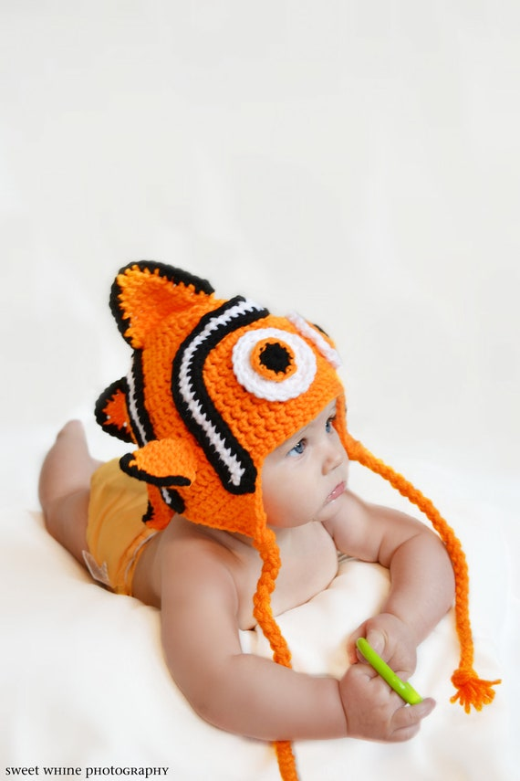 PATTERN PDF Baby Clown Fish Ear Flap Hat (all sizes)